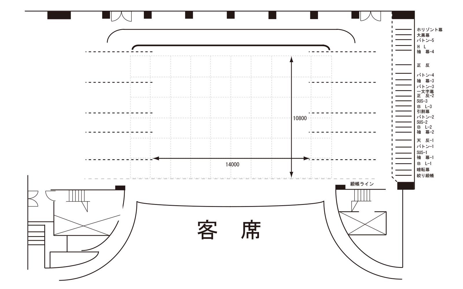 大ホール 舞台平面図